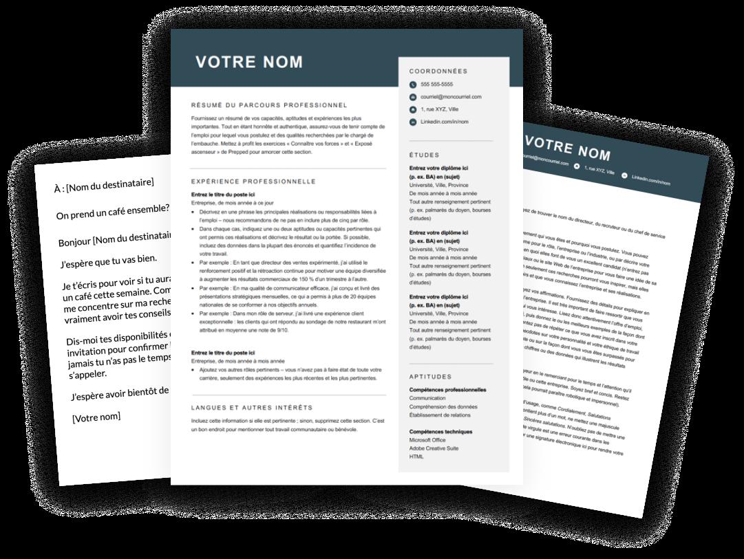 Modèles de CV, lettre de motivation, e-mail et message
