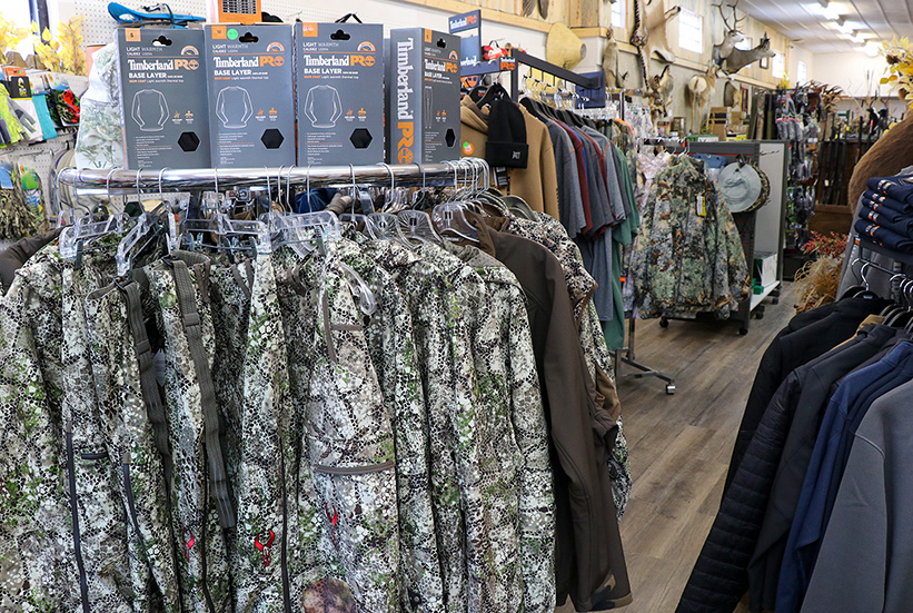 Camouflage clothing, outdoor gear, fishing supplies and footwear