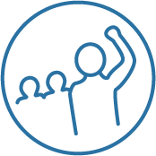 Icon for Join Us (Three people, one with a raised fist)