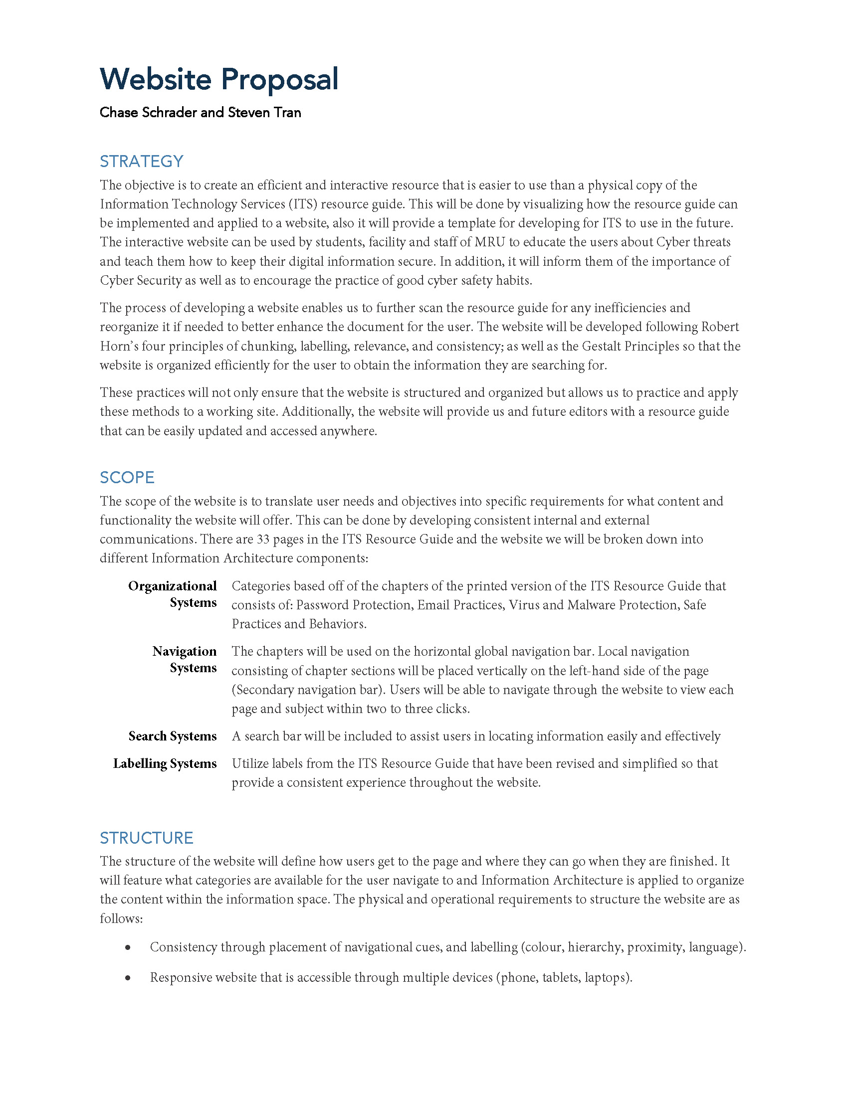 Online resource project proposal