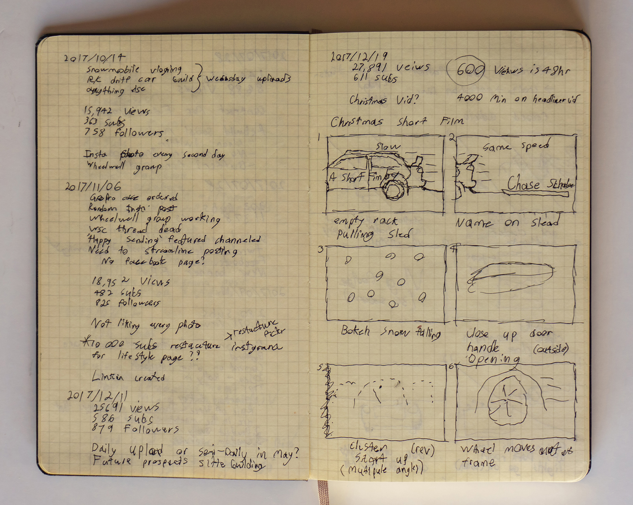 Note book with sketches