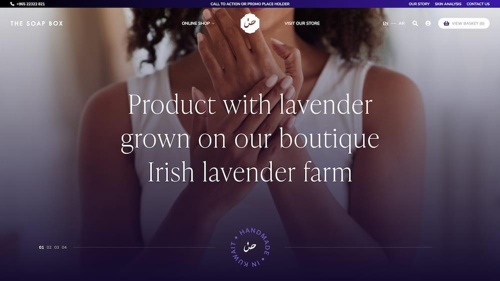 Levander soap ecommerce website design