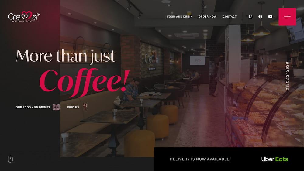 coffee shop website design