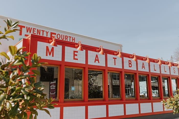 A photo of the exterior of the 24th pizza and meatballs building