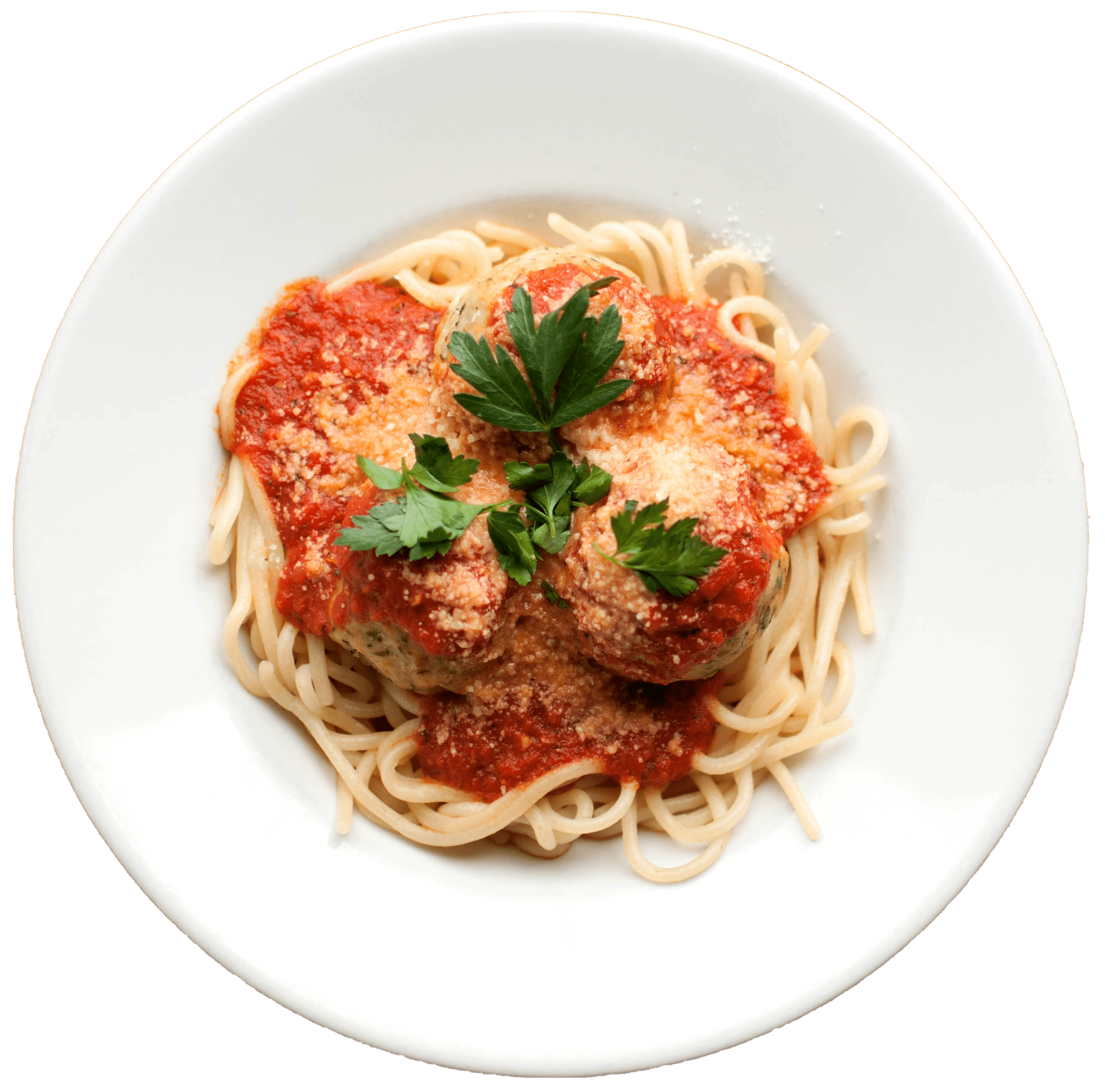 A picture of Twenty Fourth Pizza and meatballs delicious pasta in a dish