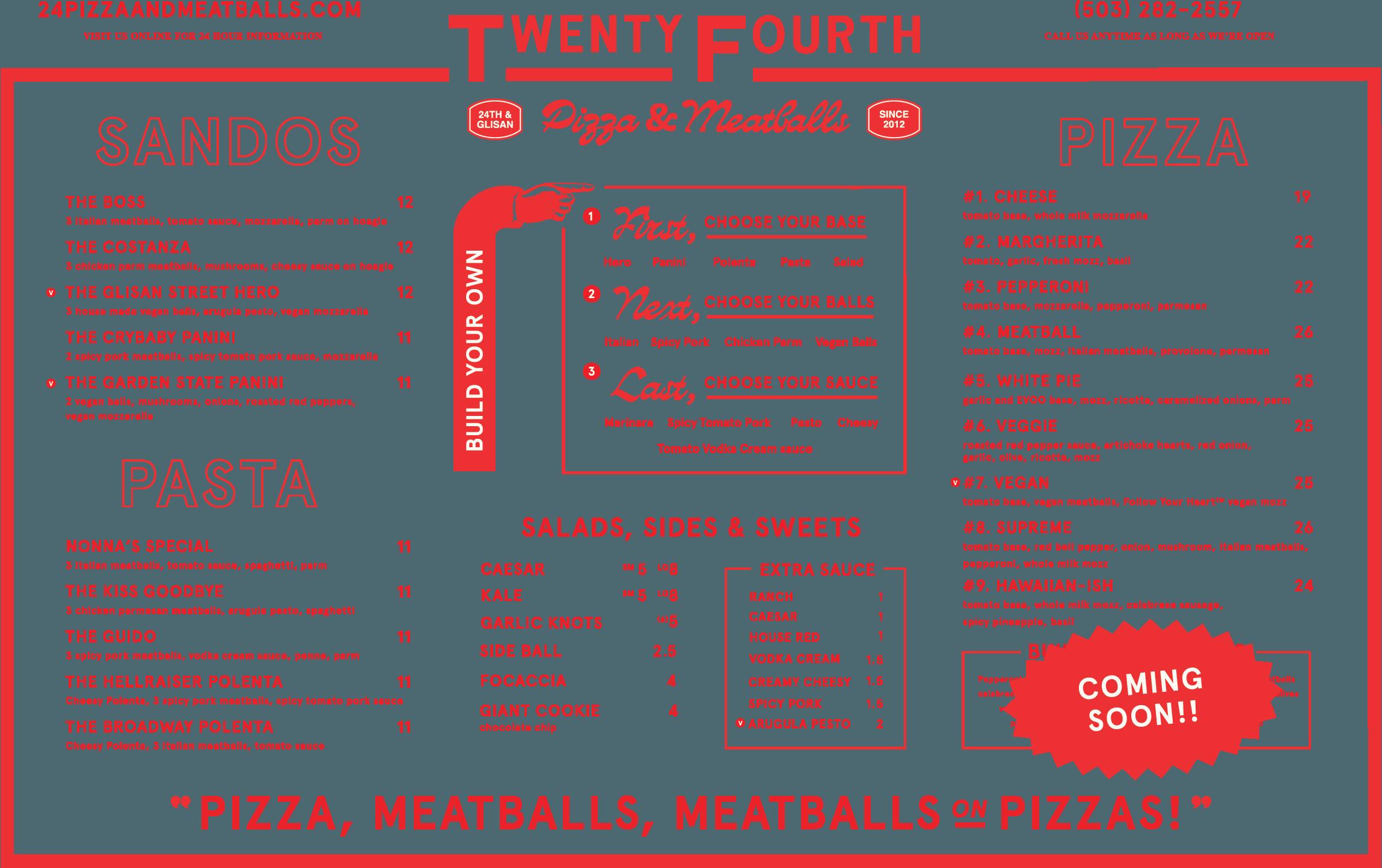 twenty fourth pizza and meatballs menu graphic