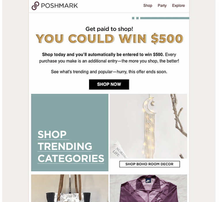 At Poshmark, we send a weekly email campaign promoting a sweepstakes to 4M+ buyers. I write the email and in-app copy for both US and CA.