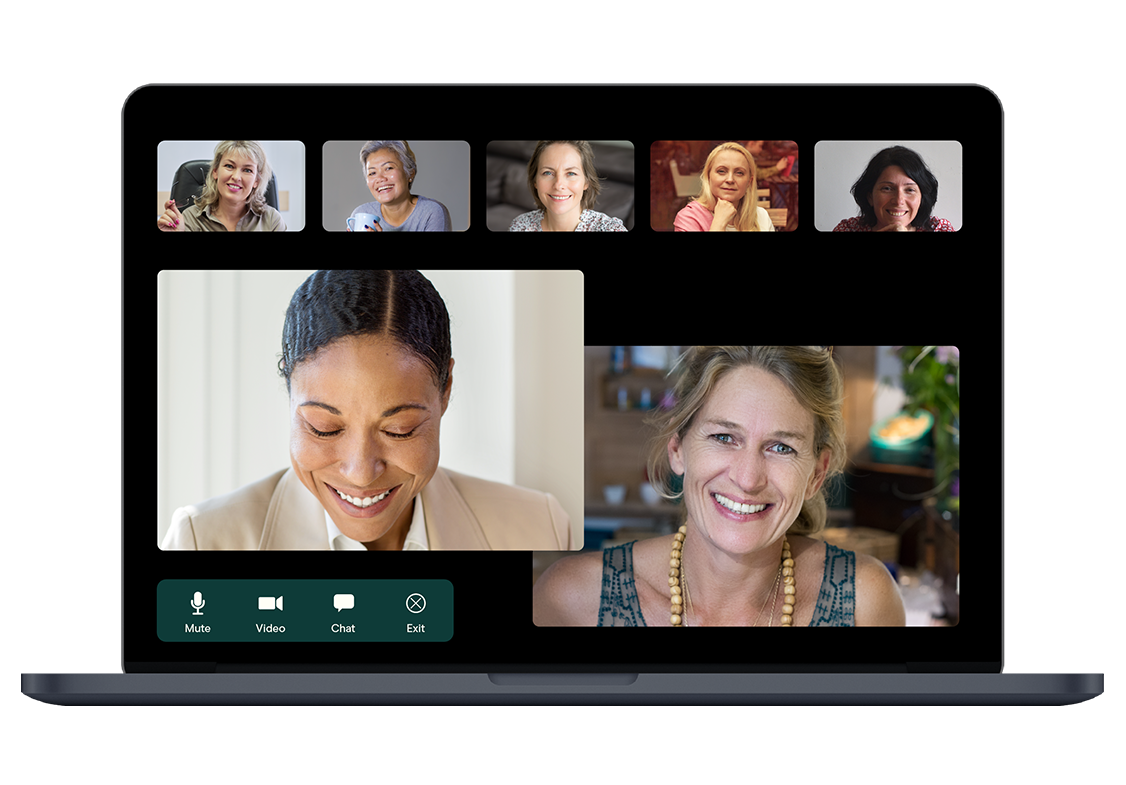 Laptop computer with group of women on video call