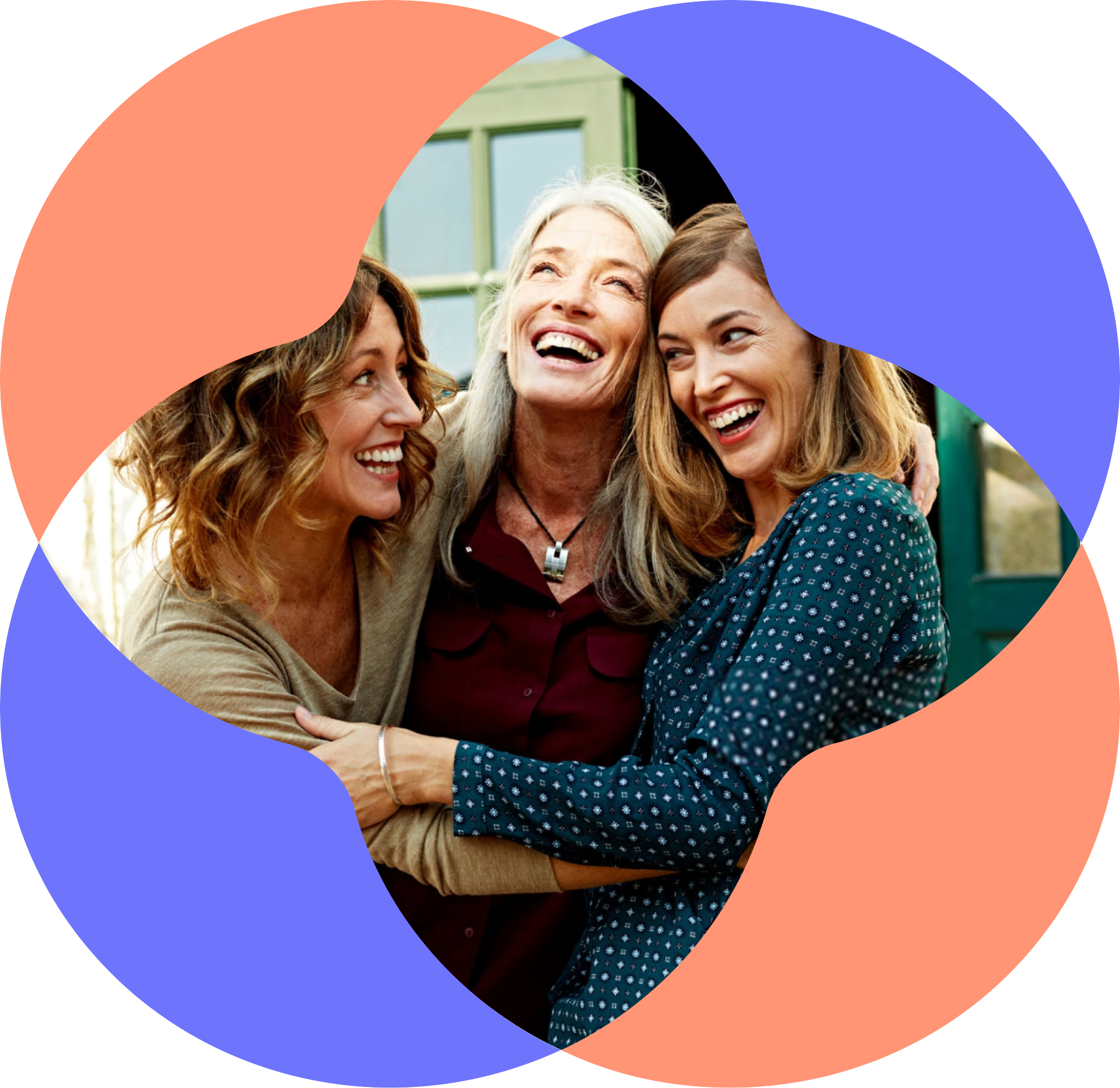 Three women of menopause age embracing and smiling
