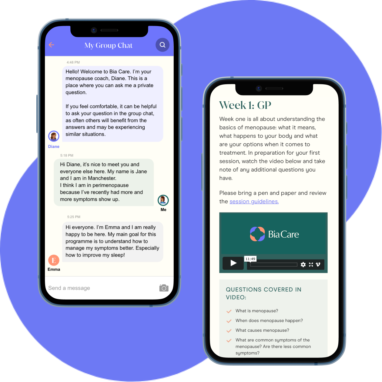 Views of the chat app and menopause content delivered as part of Bia Care's programme.