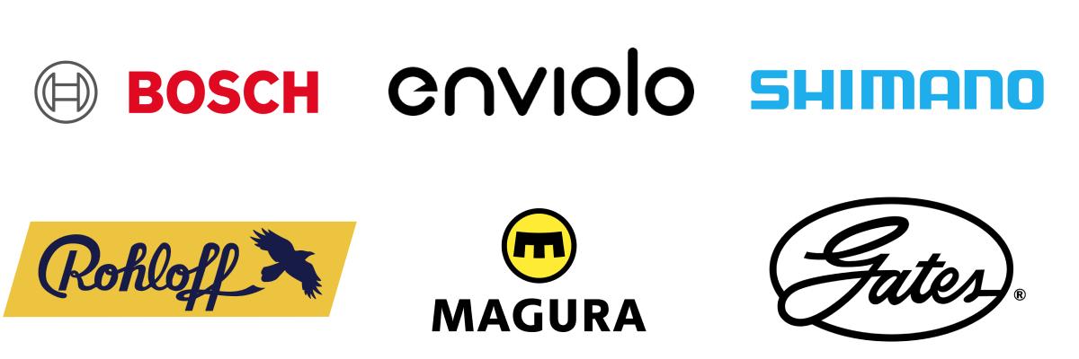 Service Logos von Bosch, Enviolo, Shimano, Rohloff, Magura und Gates