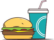 Illustration of a burger and drink