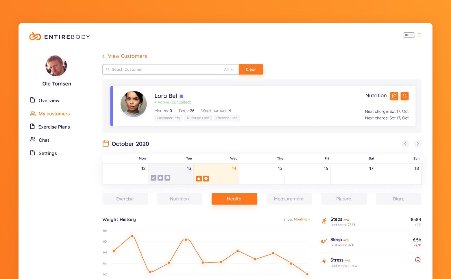 Entirebody web app interface
