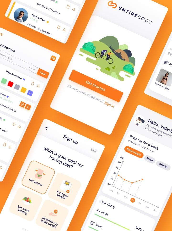 Entirebody mobile app interface