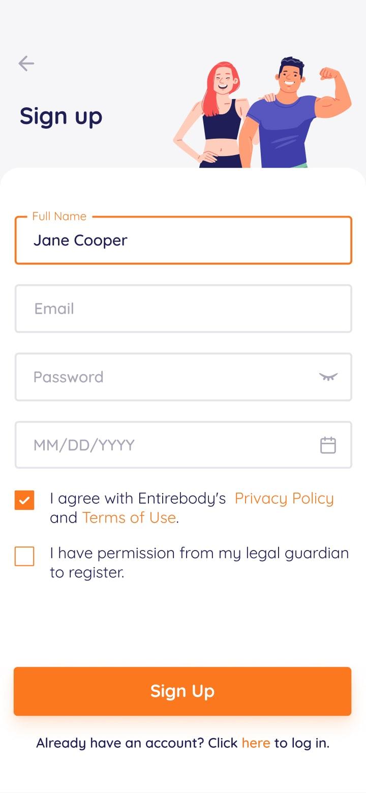 Entirebody mobile app screenshot signup