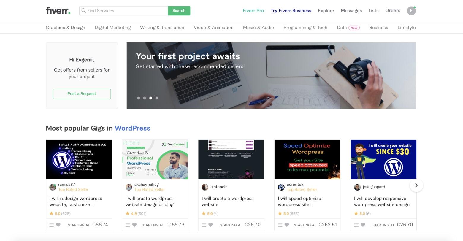 fiverr platform screenshot