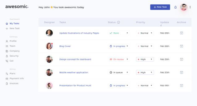 Awesomic platform screenshot