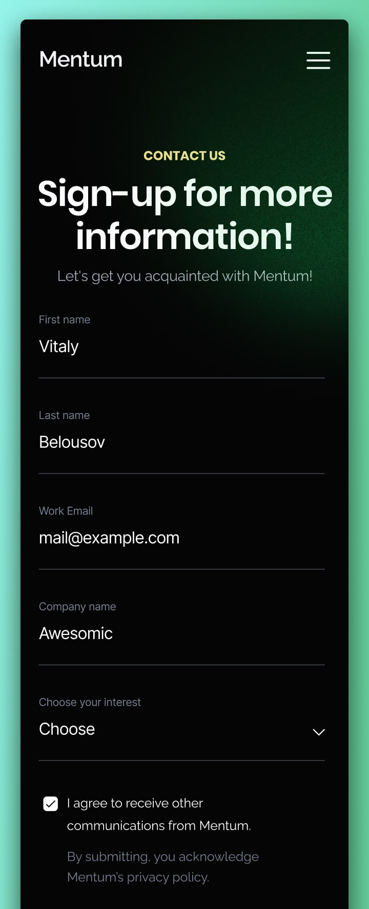 Mentum sign-up mobile