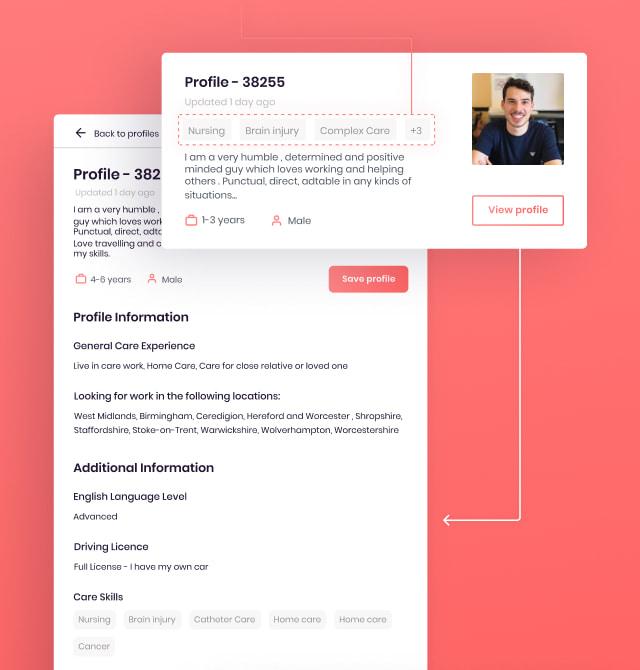 jobseeker profile - live in care jobs case