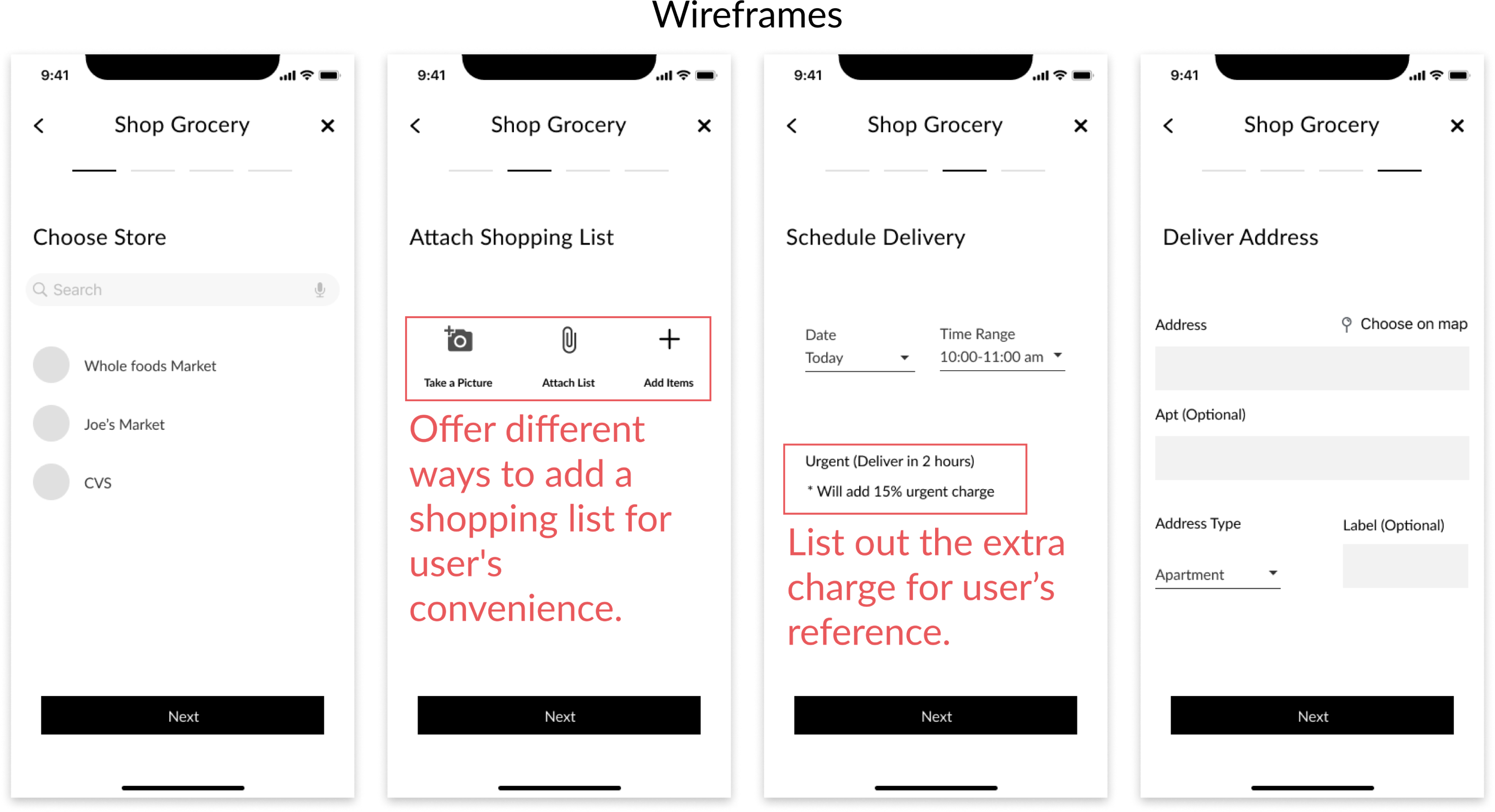 New user pages wireframes