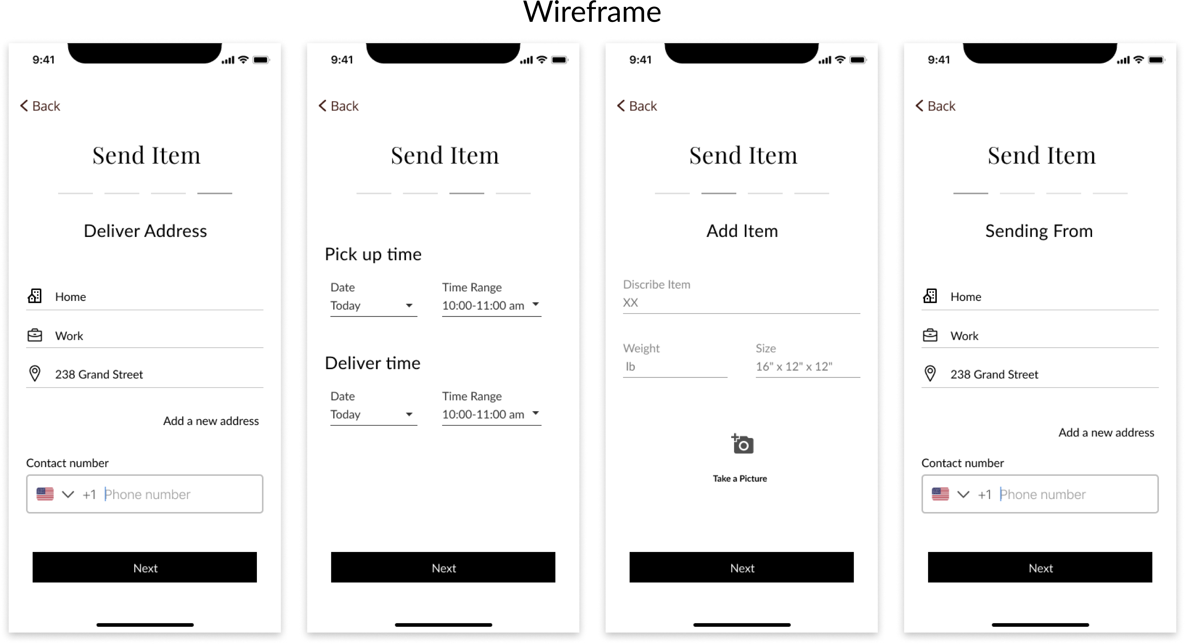 Returning user pages wireframes