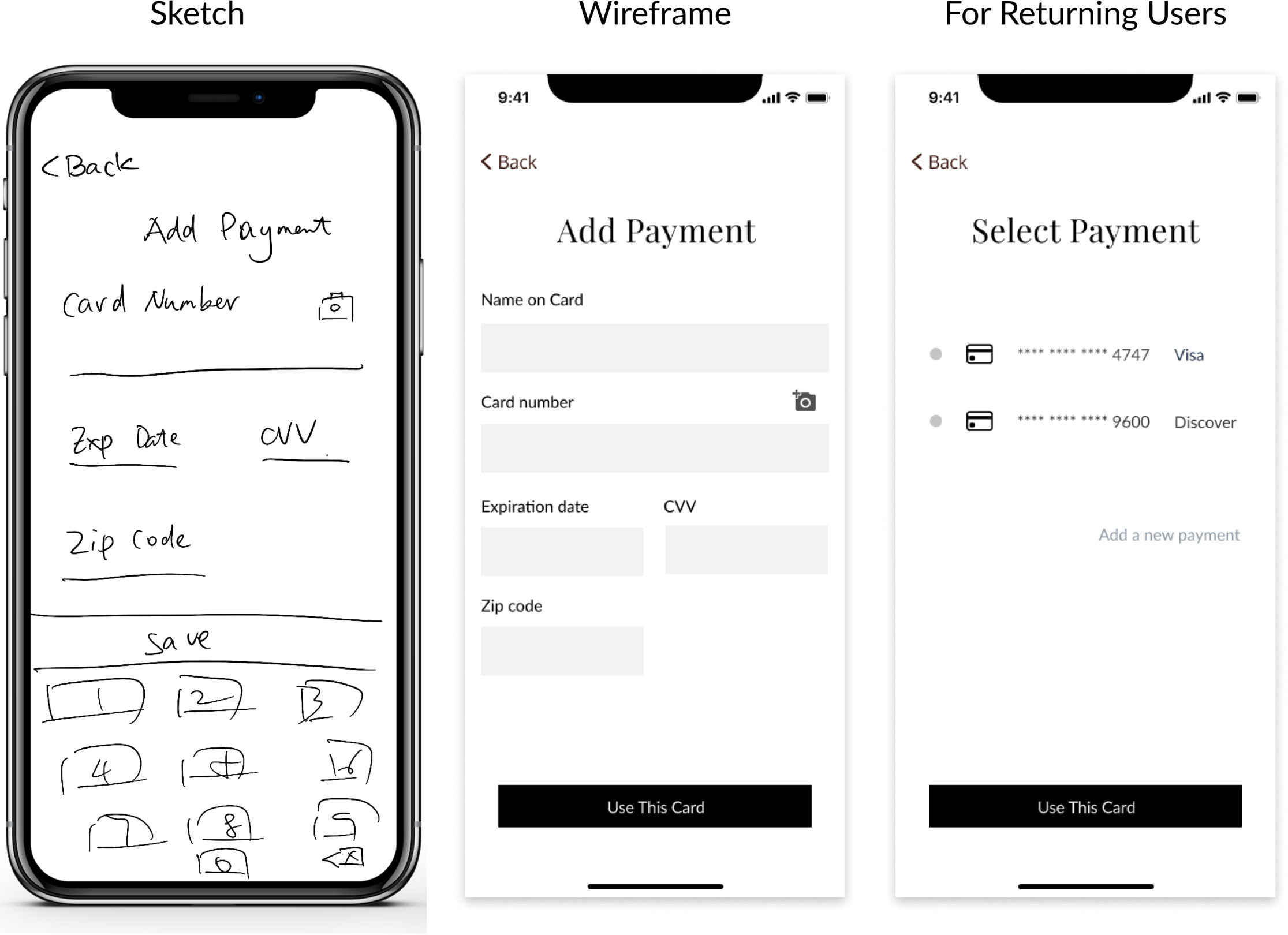 Payment page sketch and wireframe