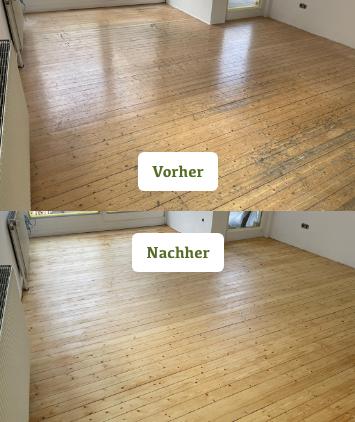 Vorher / Nachher Foto von einem aufbereitetem Fichte Riemenboden