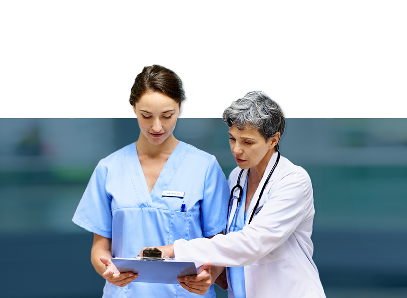 Healthcare Banner: Doctor and nurse checking paperwork while walking in a hospital hall