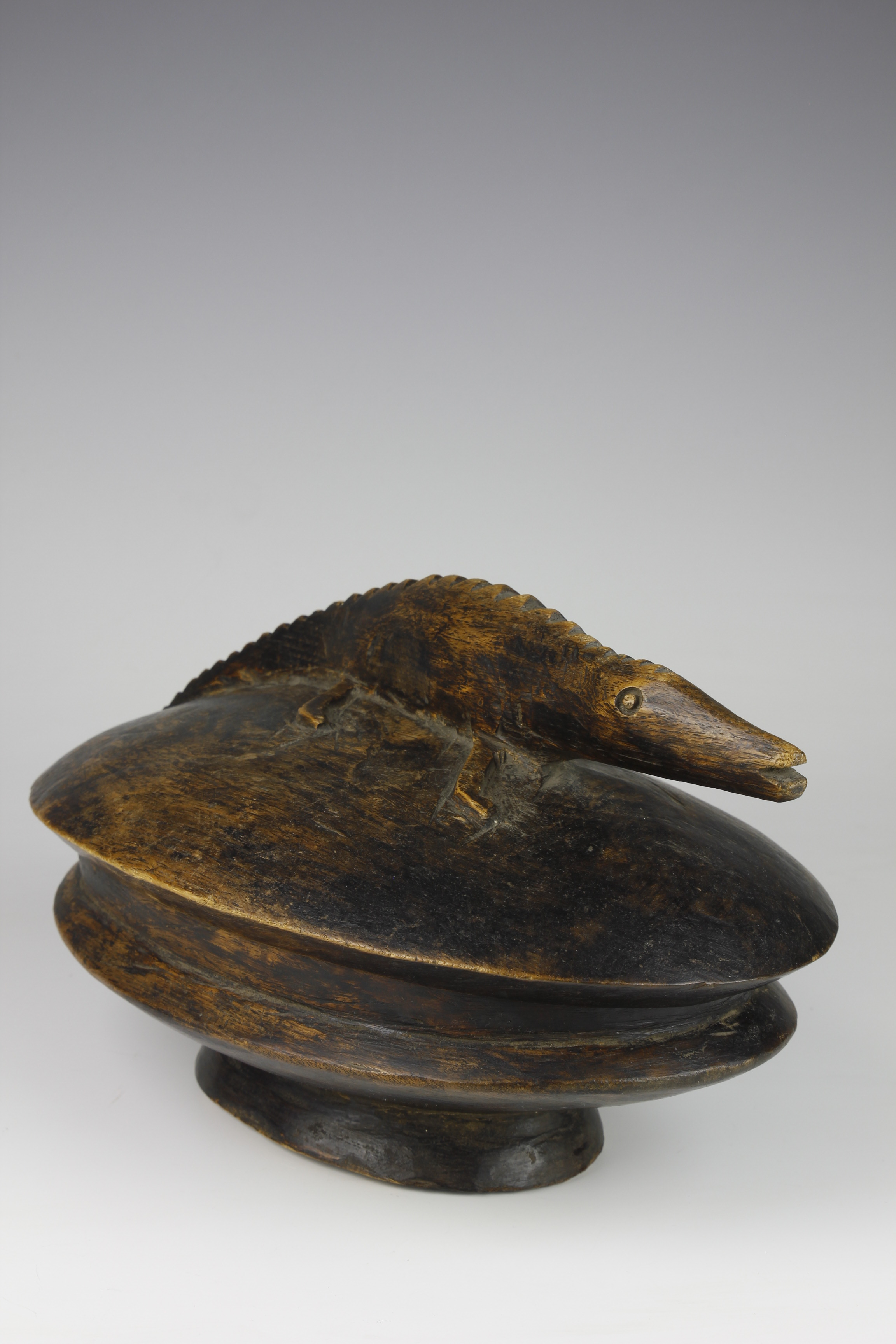 Food Bowl with Carved Crocodile