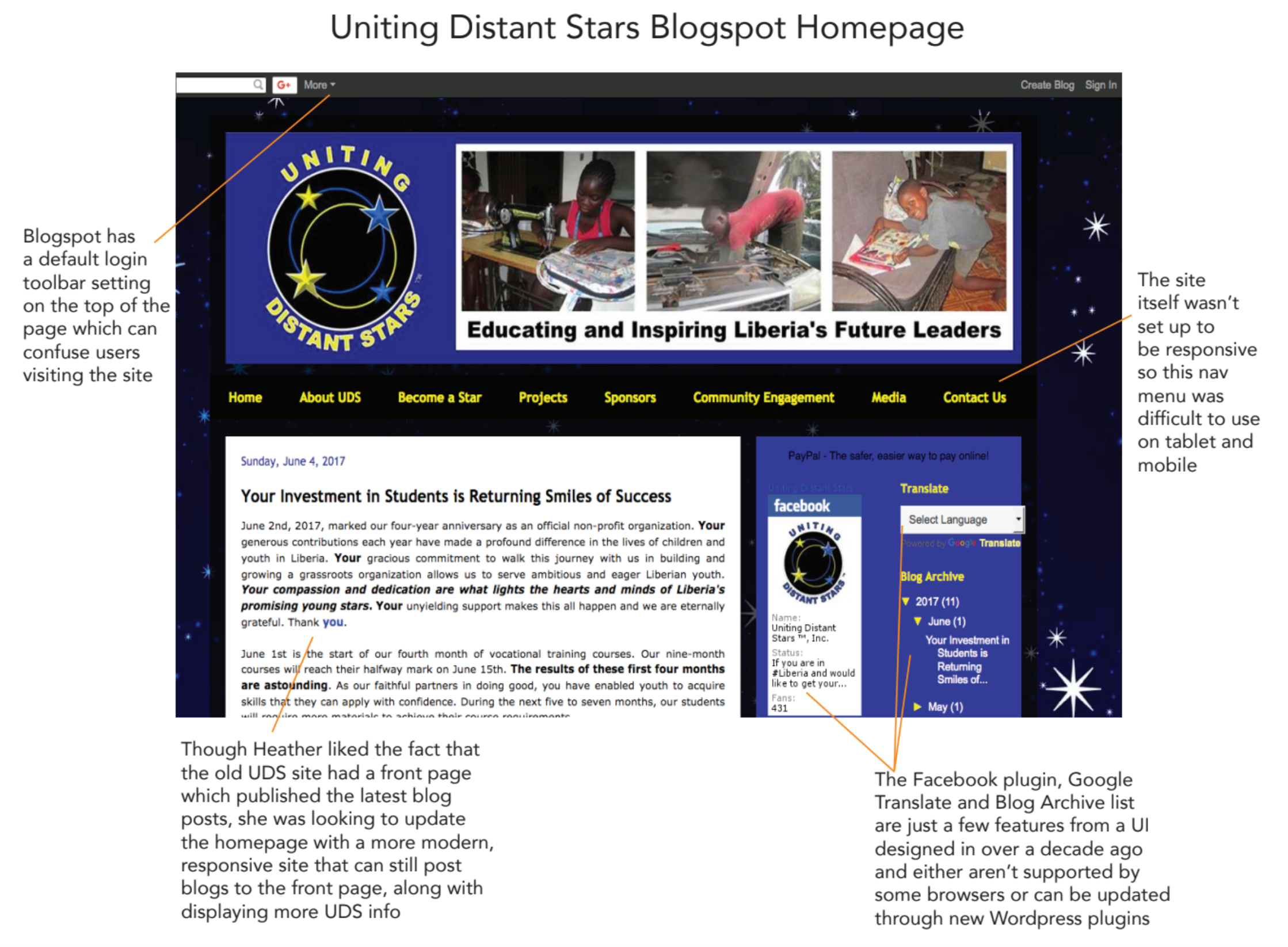 UDS Homepage with Notes