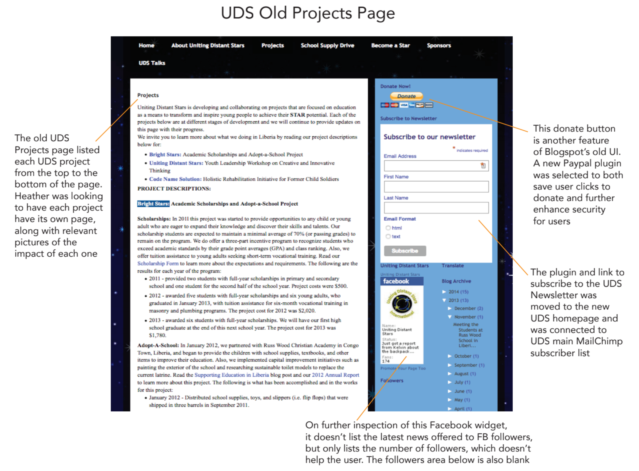 UDS Projects Page with Notes