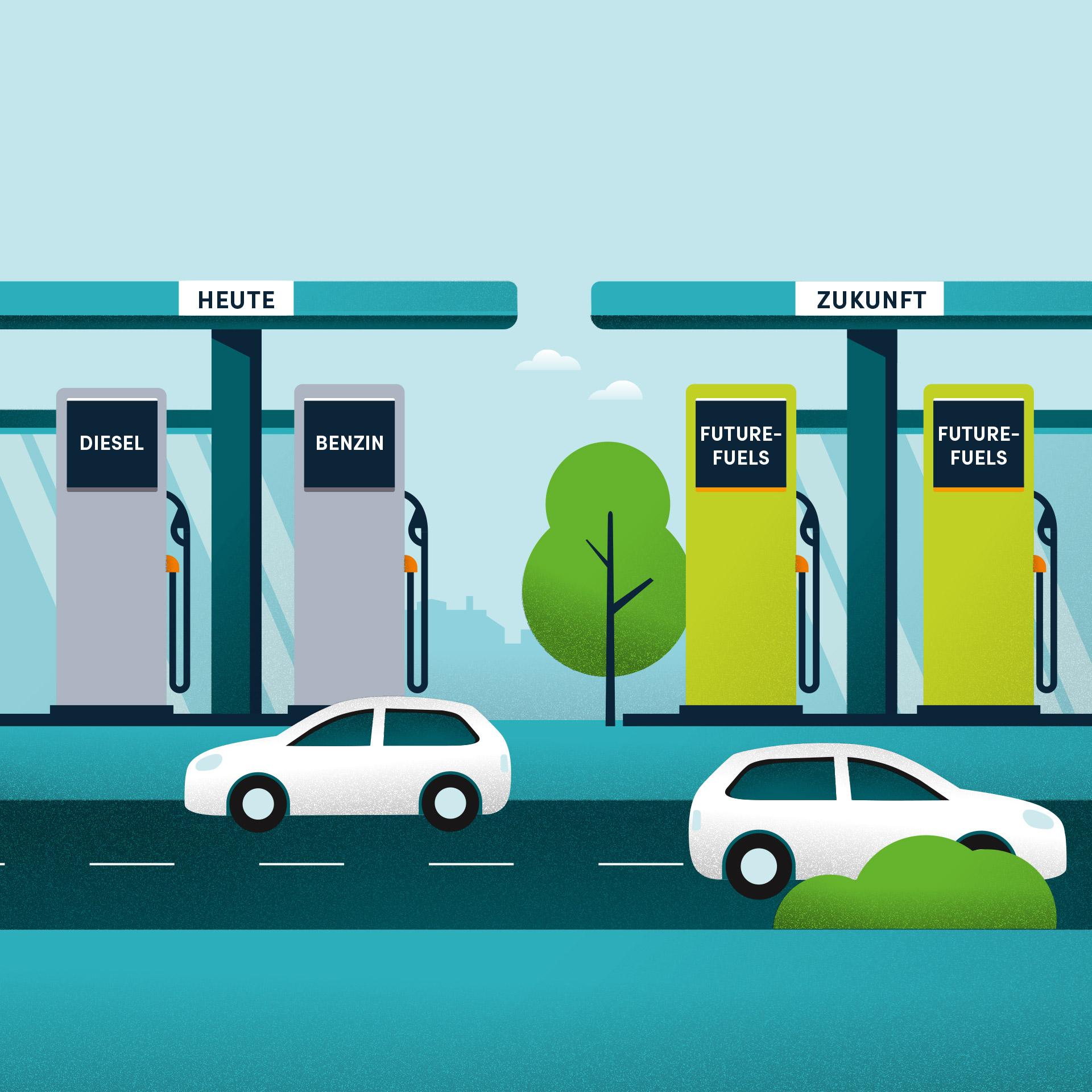 Die Zukunft fließt weiter - Illustration einer Tankstelle mit Future-Fuels