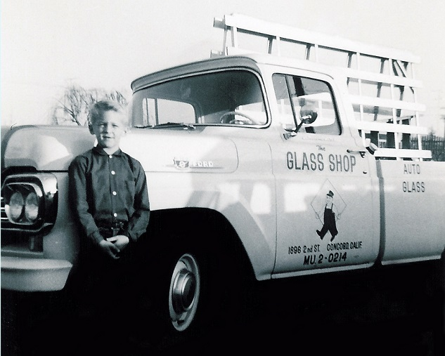 David Wilson in front of his dad's glass truck circa 1960.