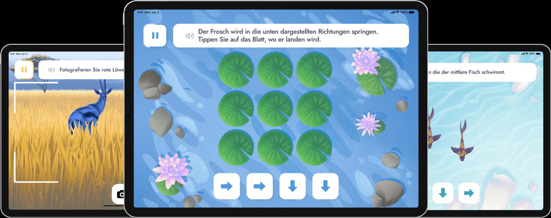 Gruppe von Bildern, die kognitive Übungen der myReha Mobile App zeigen