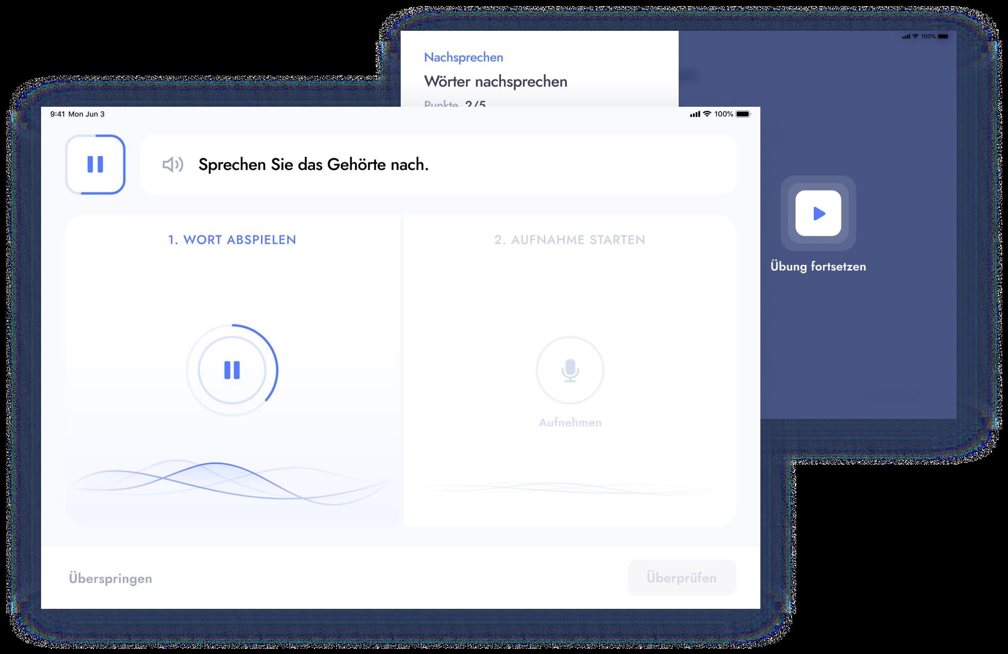 Eine Gruppe von Bildern, die die Benutzeroberfläche von Sprachübungen aus der myReha Mobile App zeigen