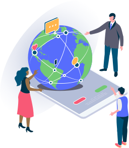 graphic for reflect on important topics. three people looking at a 3D globe