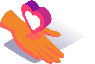 hand holding heart graphic