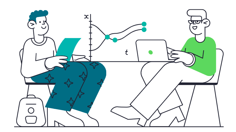 Illustration of students working.