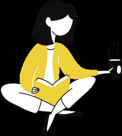 Desenho com menina sentada lendo um livro com um café na mão