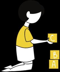 Desenho com menina brincando com blocos de madeira