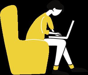 Desenho com menina sentada em uma poltrona mexendo com laptop