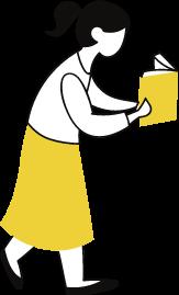 Desenho com menina andando com livro aberto em frente ao rosto