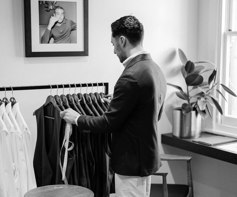 Final fittings to make sure the custom tailored suit fits rigth