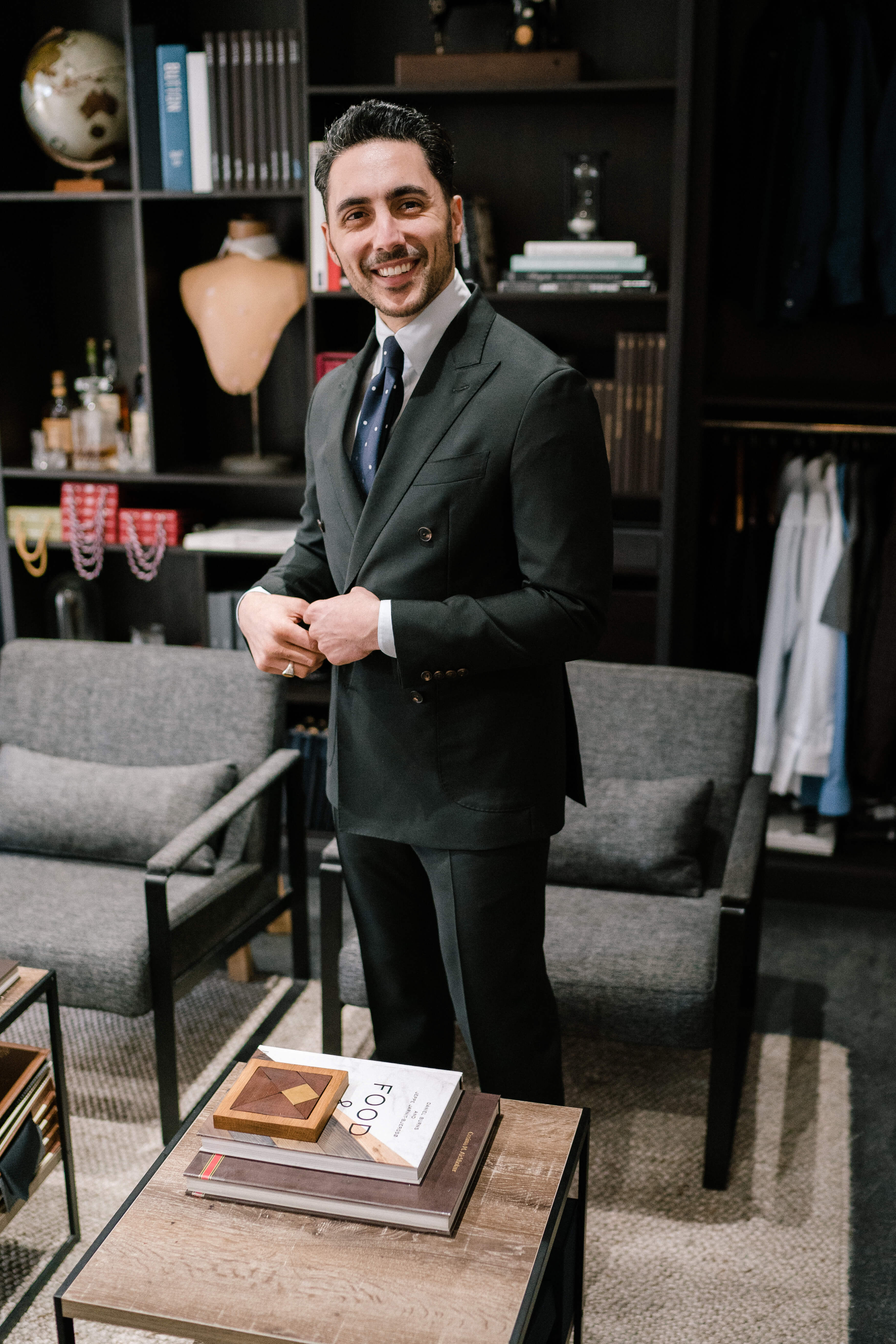 Founder of Tailor & Co, John-Pierre Georges in the Parramatta Showroom