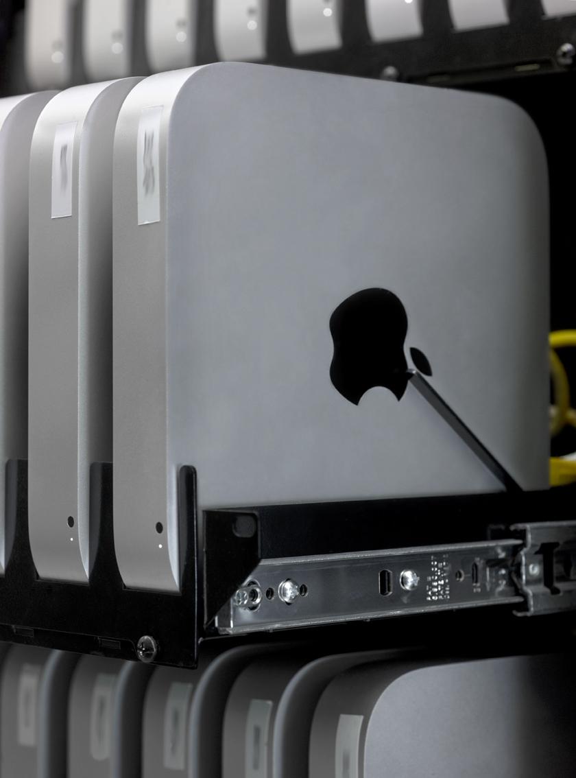 Mac mini servers in a rack
