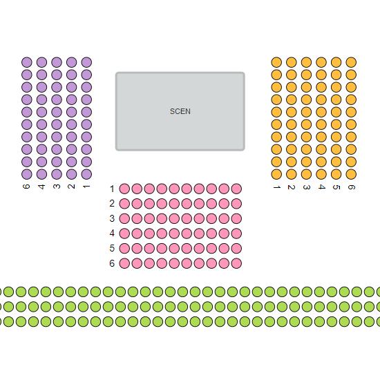 Rumsöversikt med färgade sektioner