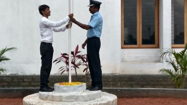 Flag hoisted by Group Captain A S Kumaran