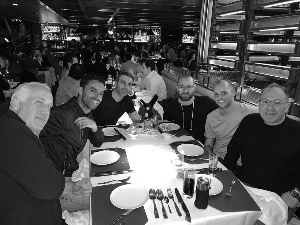 A picture of the TREBEL team at dinner