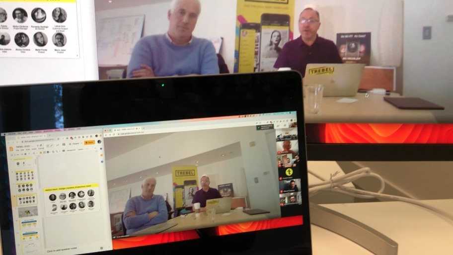 A picture of the TREBEL team working remotely.
