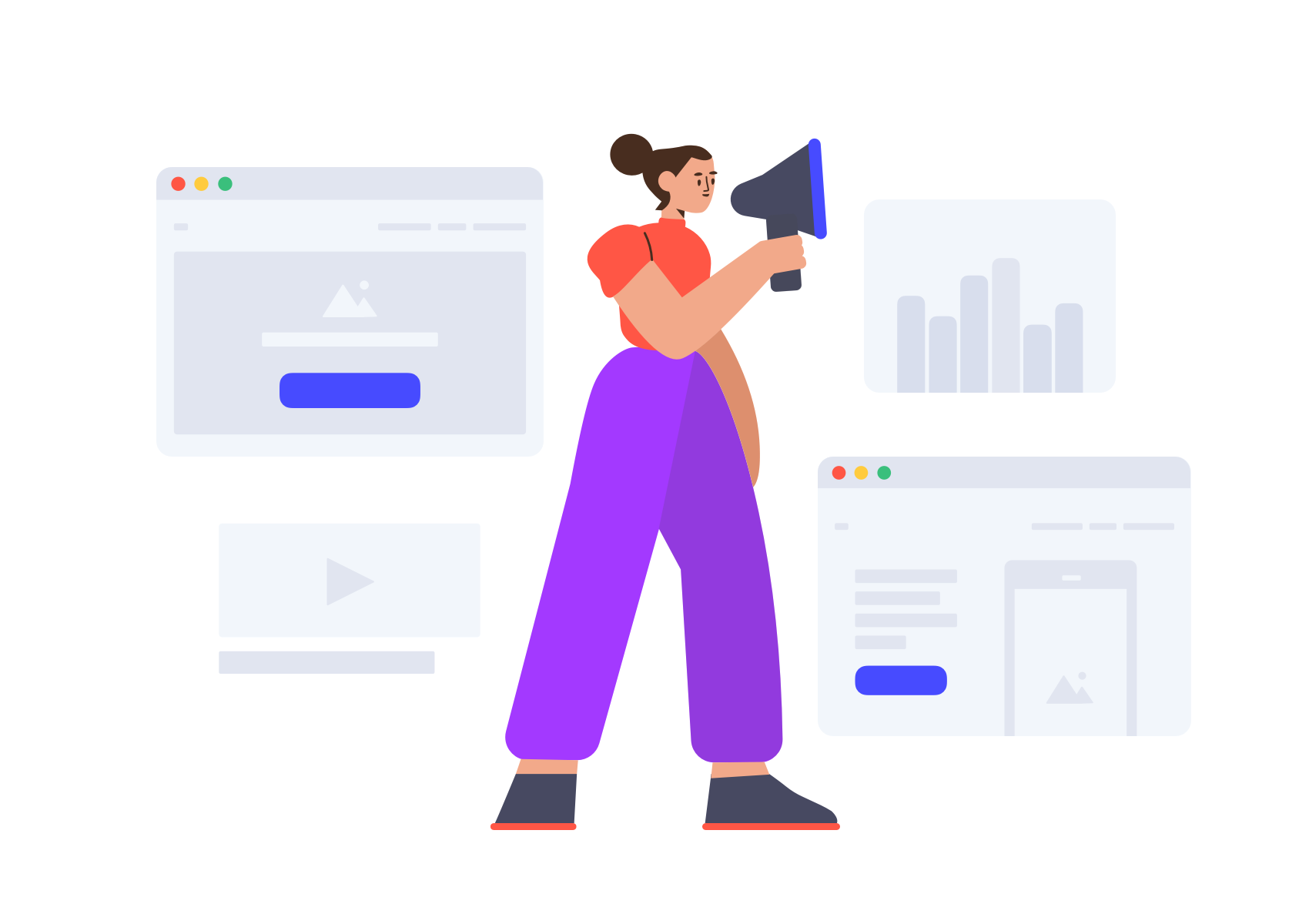 One illustrated figure with a megaphone next to outlines of desktops